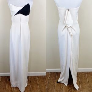 Roland Mouret Strapless Sweetheart Gown Cream 2